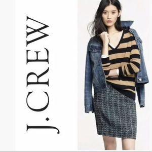 J. CREW Peacock Tweed Mini Skirt Wool blends teal